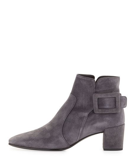 Roger Vivier Polly Suede Side-Buckle Ankle Boot, Dark Gray