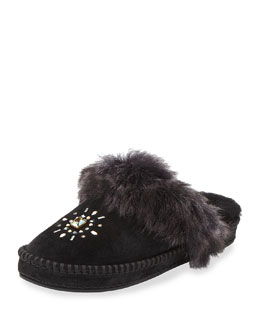 Aira Crystal Toscana Fur Slipper, Black