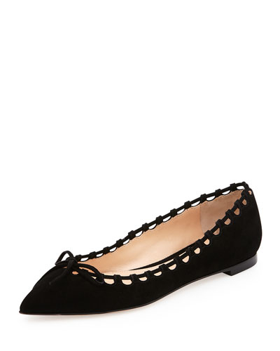 Suede Laced-Collar Ballerina Flat, Black
