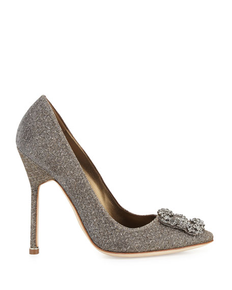 Image 2 of 4: Hangisi Crystal-Buckle Shimmery 115mm Pumps