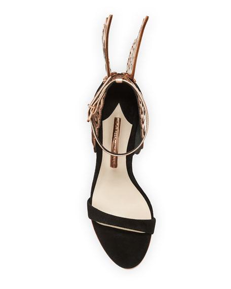 Evangeline Angel Wing Sandals, Black/Rose Gold