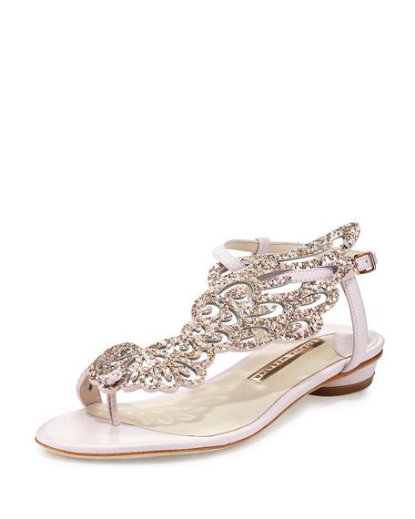 Seraphina Angel-Wing Flat Sandal, Pink Glitter