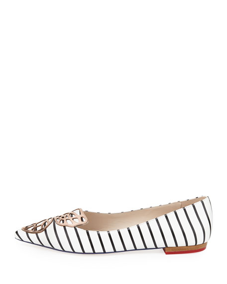 Bibi Nautical-Stripe Butterfly Flat, Black/White