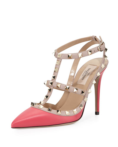 Rockstud Leather 100mm Pump, Deep Fuchsia/Poudre