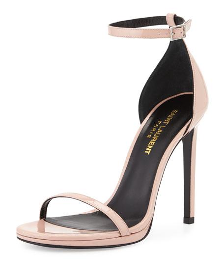 Saint Laurent Jane Patent Sandal, Rose Clair