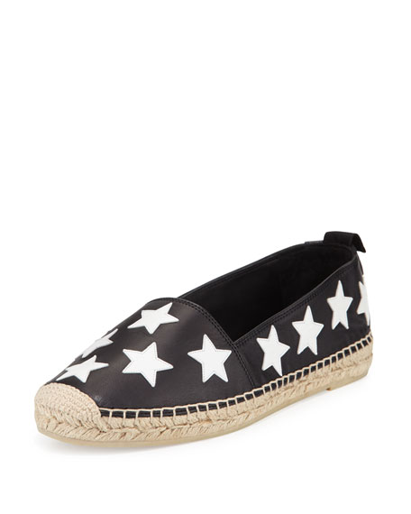 Leather Stars Espadrille Flat, Black/Optic White