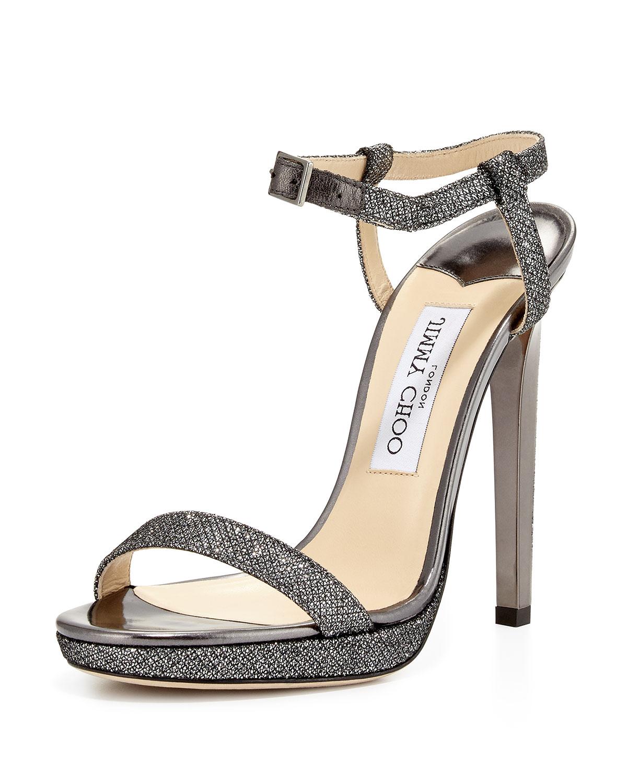 Jimmy Choo Claudette Glitter Platform 120mm Sandal, Anthracite   Neiman  Marcus