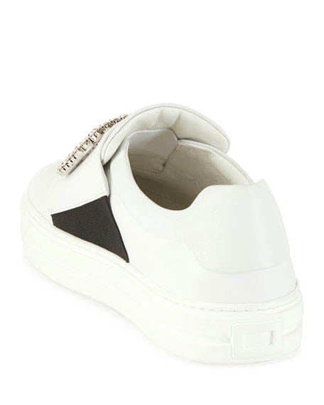 Roger Vivier Sneaky Viv Leather Sneakers, White (Bianco)