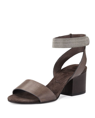 Monili-Trim Leather City Sandal, Carbon