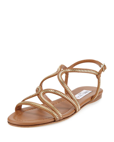 Nickel Chain Strappy Flat Sandal, Canyon