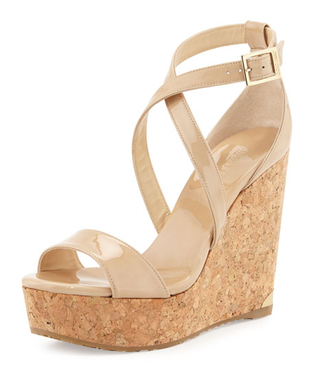 Jimmy ChooPortia Crisscross Platform Wedge Sandal, Nude
