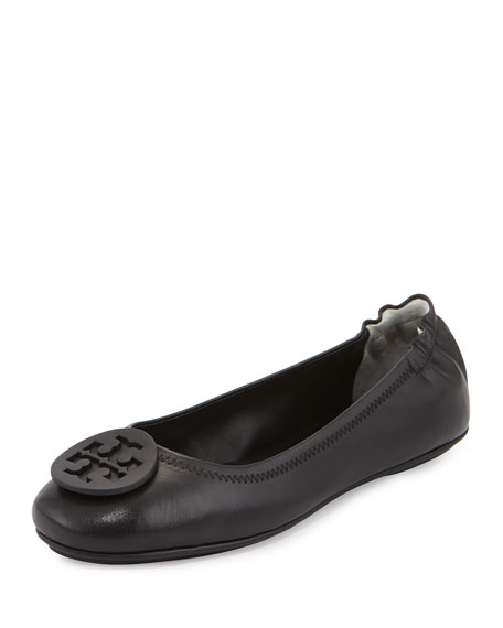 Minnie Travel Logo Ballerina Flat, Black