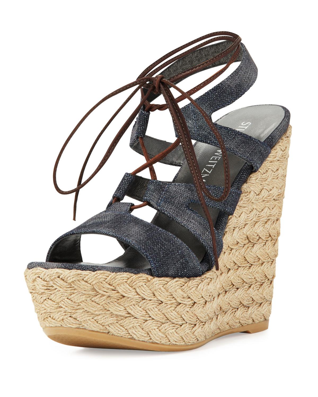 Stuart Weitzman Denim Flatform Sandals browse cheap online 2014 online discount good selling lowest price online fashion Style sale online kh4Or5O