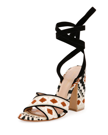 Cheyenne Embroidered Open-Toe Crisscross Sandal, Black/Beige
