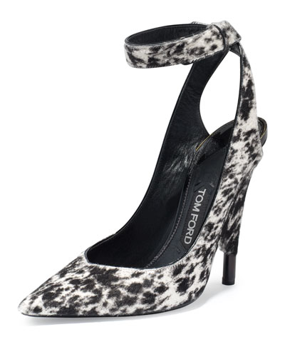 Leopard-Print Calf-Hair Ankle-Wrap Pump, White/Black