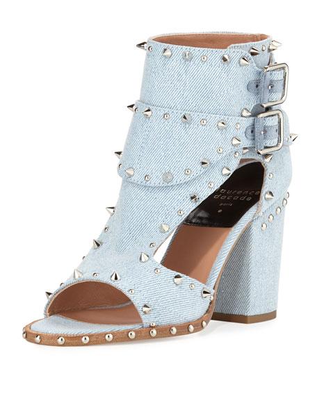 Laurence Dacade Deric Studded Denim Sandal, Light Blue/Silver