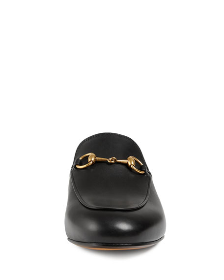 Princetown Leather Horsebit Mule Slipper Flat, Black