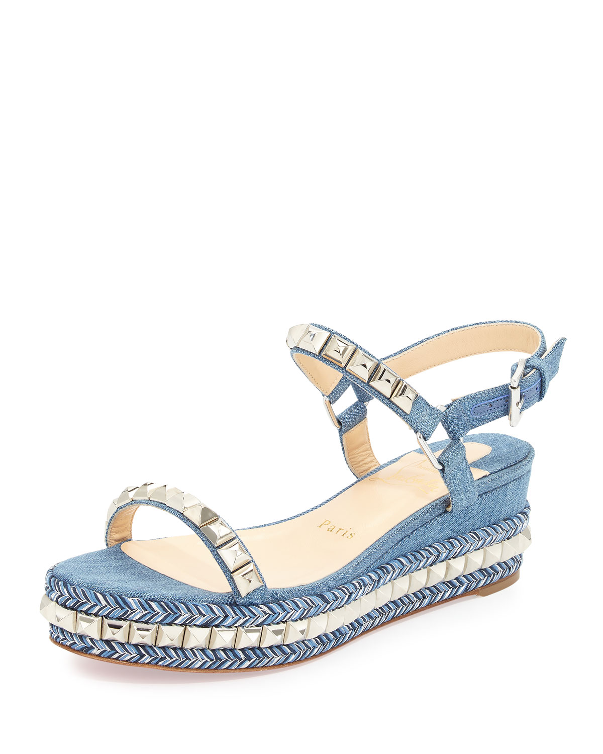 the latest f35ad 7770b Cataclou Denim 60mm Wedge Red Sole Sandal, Blue/Silver
