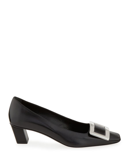 Roger Vivier Decollete Belle Vivier Leather Ballerina Pumps, Black