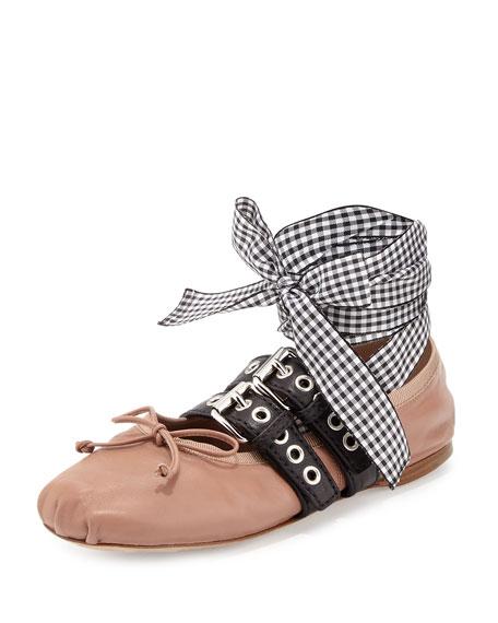 Miu Miu Belted Leather Ankle-Wrap Ballerina Flat, Cammeo/Nero