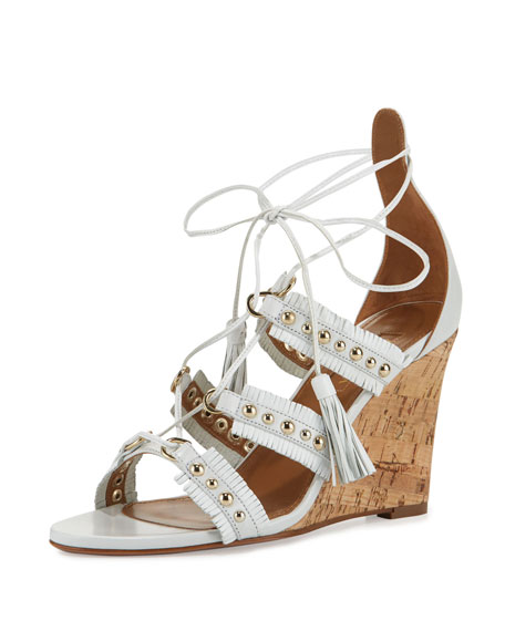 Aquazzura Tulum Studded Fringe Wedge Sandal, White