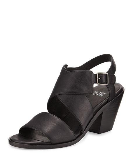 Eileen Fisher Cara Crisscross Leather Sandal, Black
