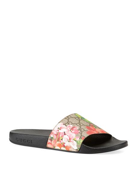 Gucci GG Blooms Supreme Slide Sandal, Ebony/Multi