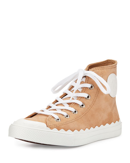 Chloe Scalloped Suede High-Top Sneaker