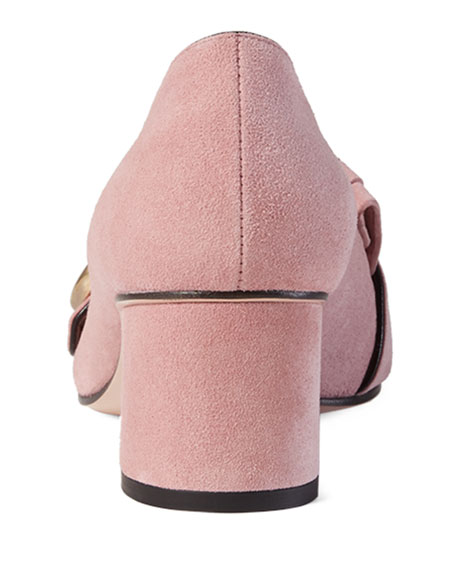 Marmont Fringe Suede 55mm Loafer, Crystal Pink