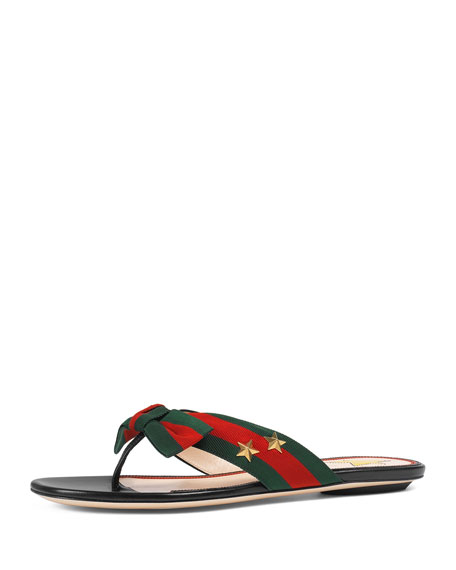Studded Grosgrain Web Flat Thong Sandal, Black