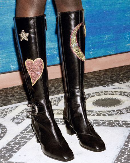 727d3eff5d0a2 Gucci Dionysus Embroidered Knee Boot