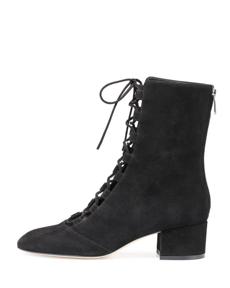 Delia Suede Lace-Up Ankle Boot