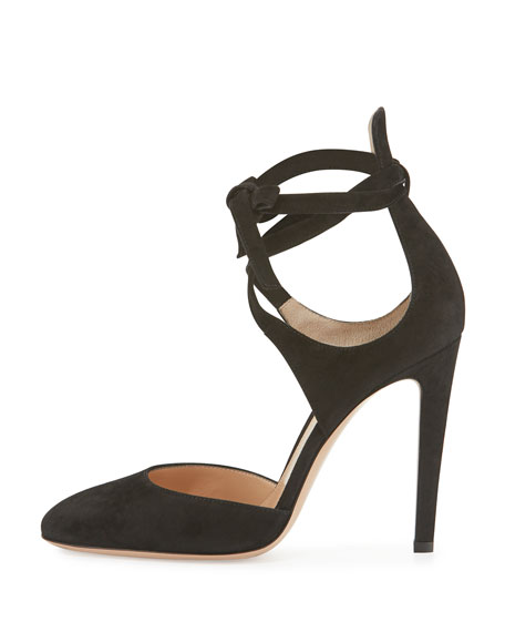 Gianvito Rossi Suede Ankle-Wrap d'Orsay Pump, Black