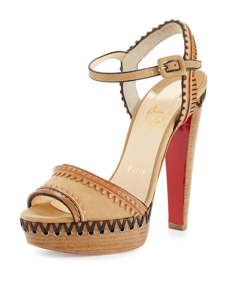 Christian Louboutin Trepi Leather 140mm Red Sole Sandal,