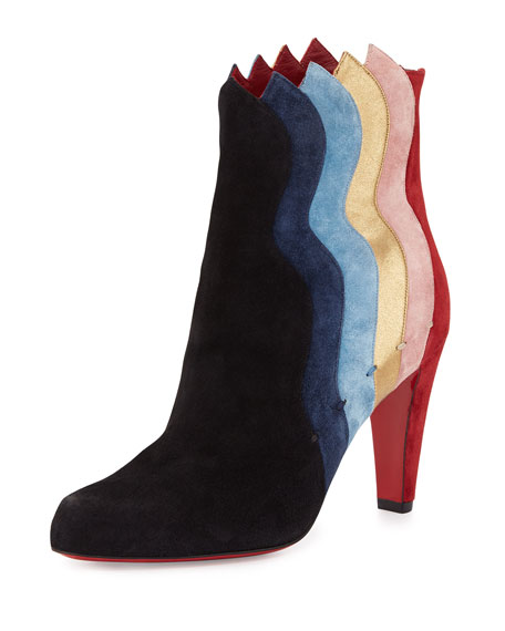 Christian LouboutinWavy Colorblock Suede Red Sole Boot, Black/Multi