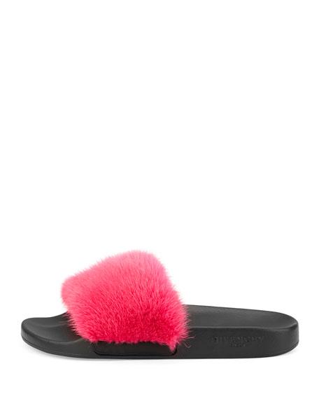 Mink Fur & Rubber Slide Sandal, Fuchsia