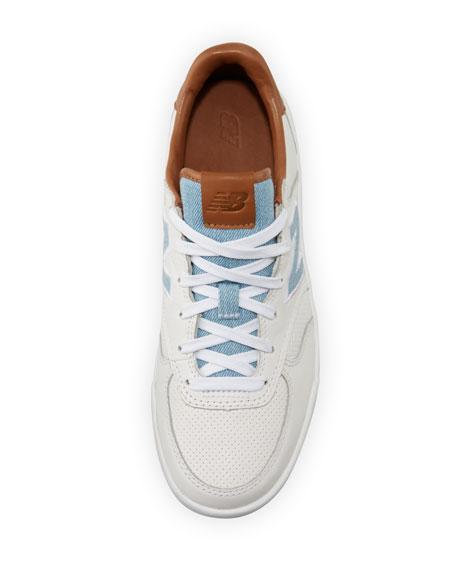 Leather Court Sneakers, White/Tan/Denim