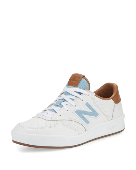Leather Court Sneaker, White/Tan/Denim