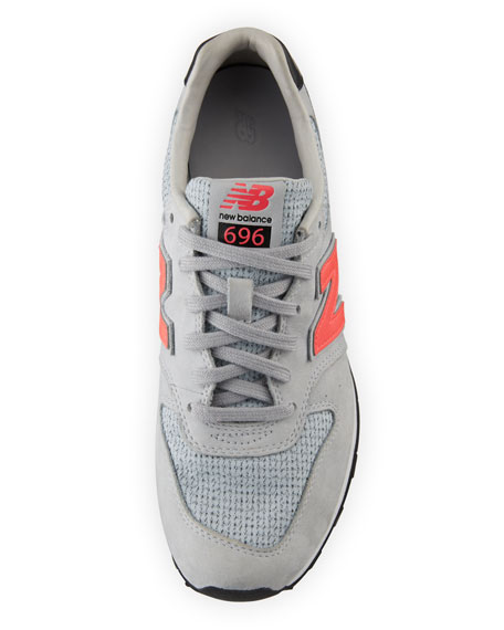 Embossed Leather Sneaker, Gray/Pink