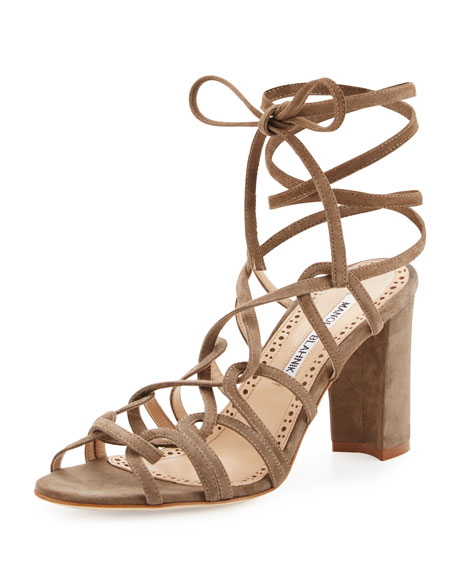 Manolo Blahnik Jena Suede Lace-Up Sandal, Taupe