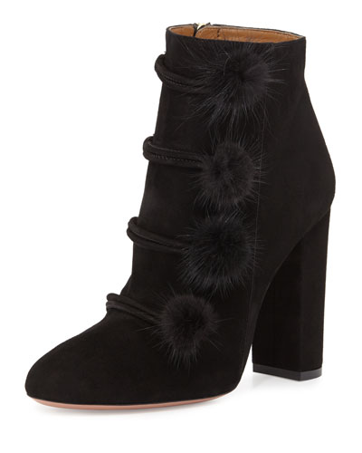 Ulyana Mink-Trim 105mm Bootie, Black