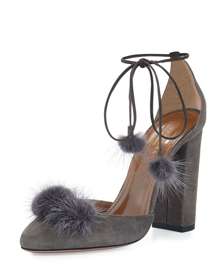 Aquazzura Wild Russian Mink Fur Pump, Urban Gray