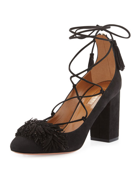 Aquazzura Wild Thing Fringe Block-Heel Pump, Black