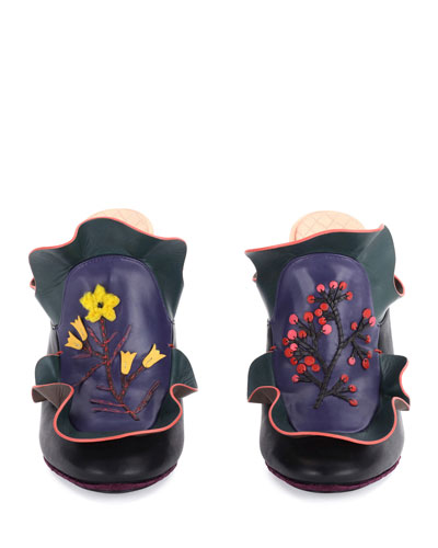 Floral Ruffled Leather Mule, Multi