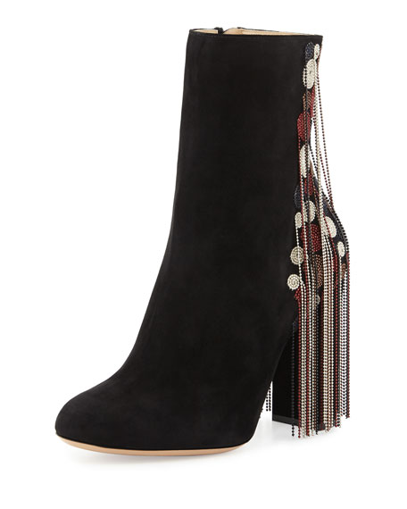 Chloe Bead-Fringe Suede Ankle Boot, Black/Mix
