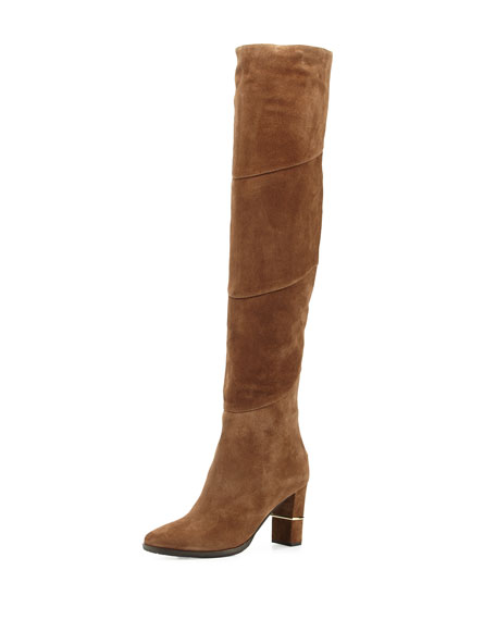 Jimmy Choo Maira Suede 80mm Over-The-Knee Boot, Khaki