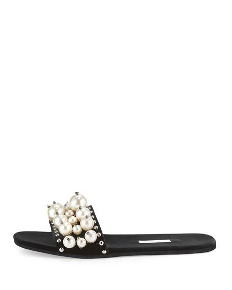 Pearly Velvet Slide Sandal, Nero