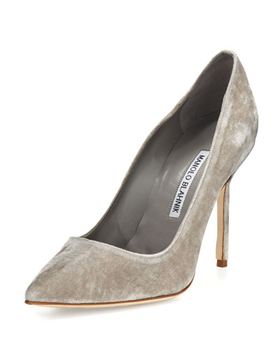 BB Velvet 105mm Pump, Gray