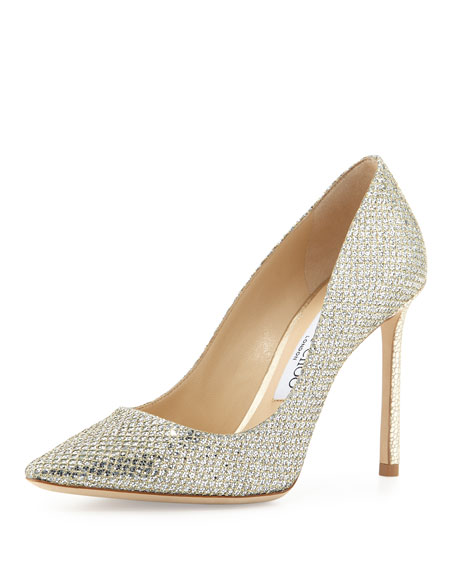 Jimmy Choo Romy Glitter Pointed-Toe 100mm Pump, Champagne