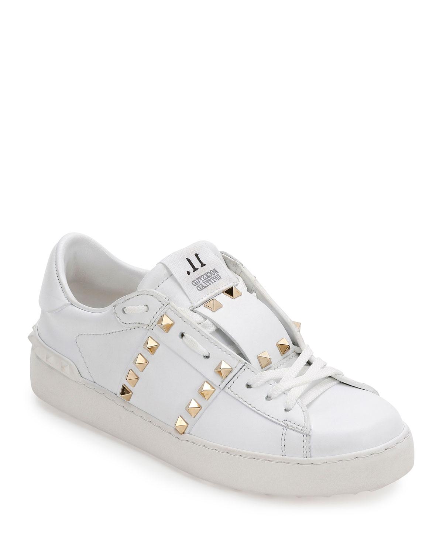 75783e0909298 Valentino Garavani Rockstud Untitled Leather Sneakers